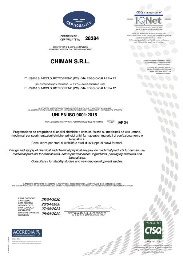 Chiman srl Certificate #28384